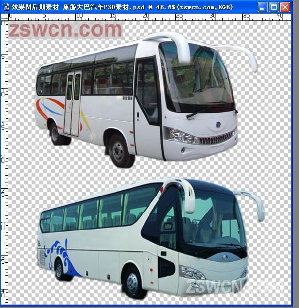 效果图后期素材 旅游大巴汽车psd素材