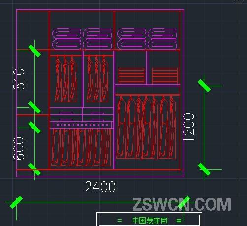 衣柜的CAD模块 整体衣柜衣服棉絮cad模块的立面CAD图纸