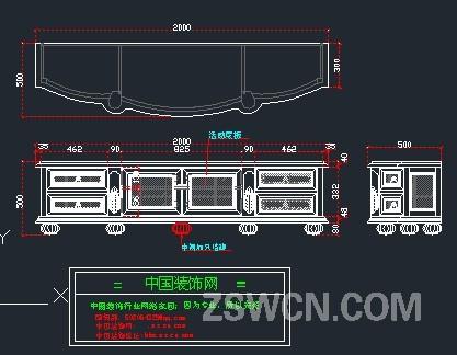 欧式电视柜CAD图块 电视柜cad图 平面图 立面图侧面图 整套CAD图纸