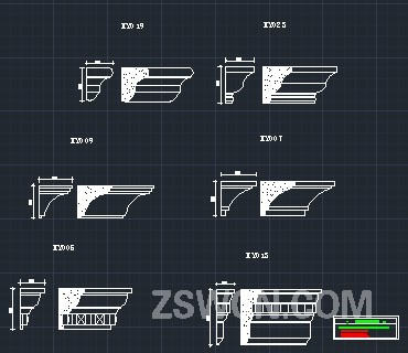 石膏线条CAD立面图 檐口线 石膏线cad立面图怎么画法
