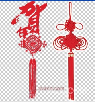 哪里有家居饰品PS素材 贺年红色中国结psd素材下载