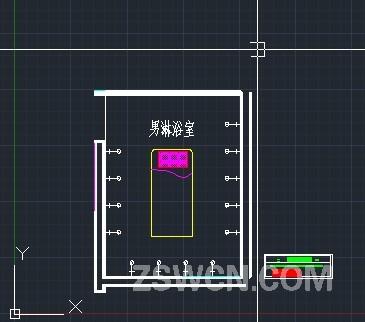 洗浴中心平面图 男淋浴平面cad图布置 cad素材图块