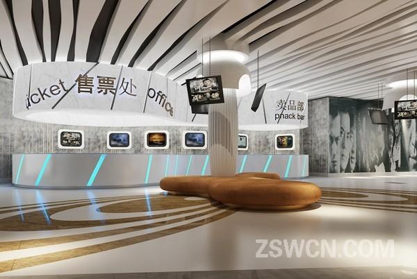 电影院设计方案走廊 放映厅 售票处 大厅效果图 魅力东方设计作品
