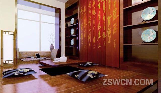 采用木质家具的搭配和中国古典壁画书法的装饰,使室内环境显得古香