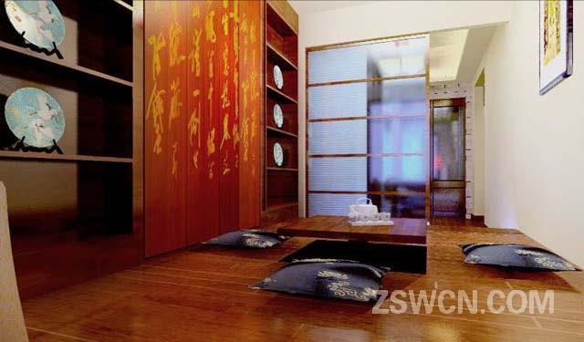 广告公司装饰效果图_古式风格的室内设计作品,采用木质家具的搭配和中国古典壁画 ...
