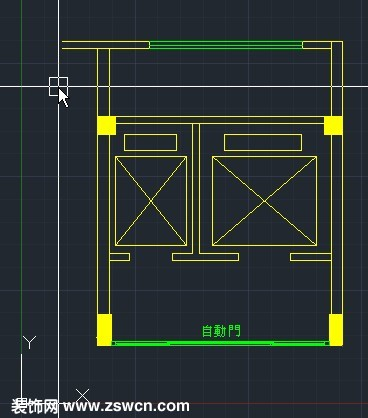 双电梯间cad平面图 包括客梯 货梯自动门的一组CAD平面图图块下载图片