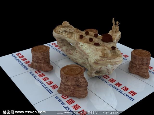 根雕茶几3d模型
