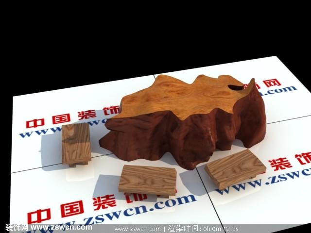 实木树头茶几max模型+实木方凳子3d max模型 根雕茶几3D模型下载