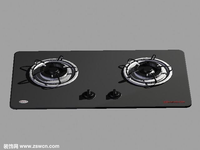 煤气灶max模型 非常精致的3D燃气灶模型 镶入式打火灶3d模型下载