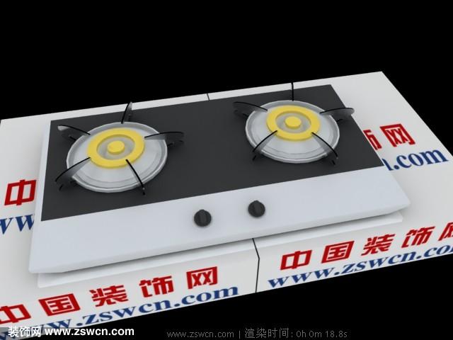 最新款3D燃气灶模型下载 燃气灶3d模型 煤气灶模型max格式源文件