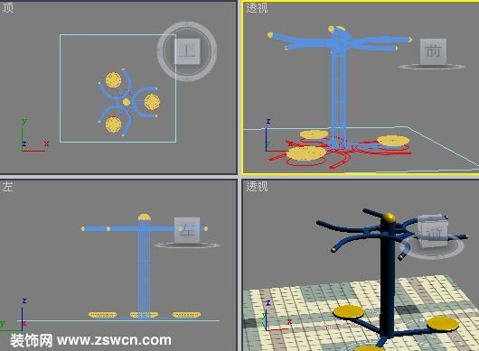 三人扭腰器3d模型