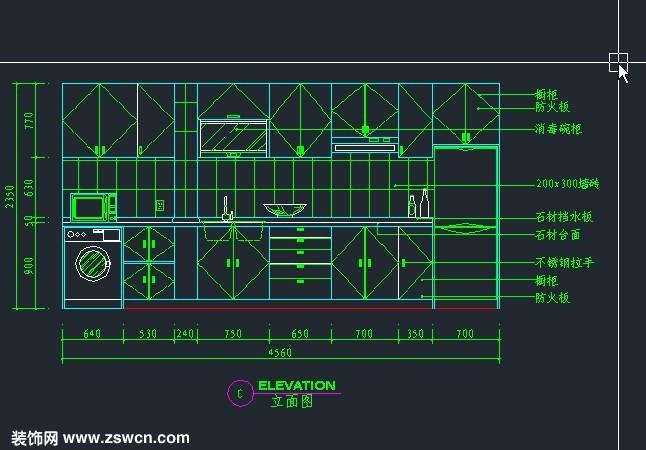 室内装修CAD厨房图纸实例施工图立面图含尺创维ms2199图纸图片