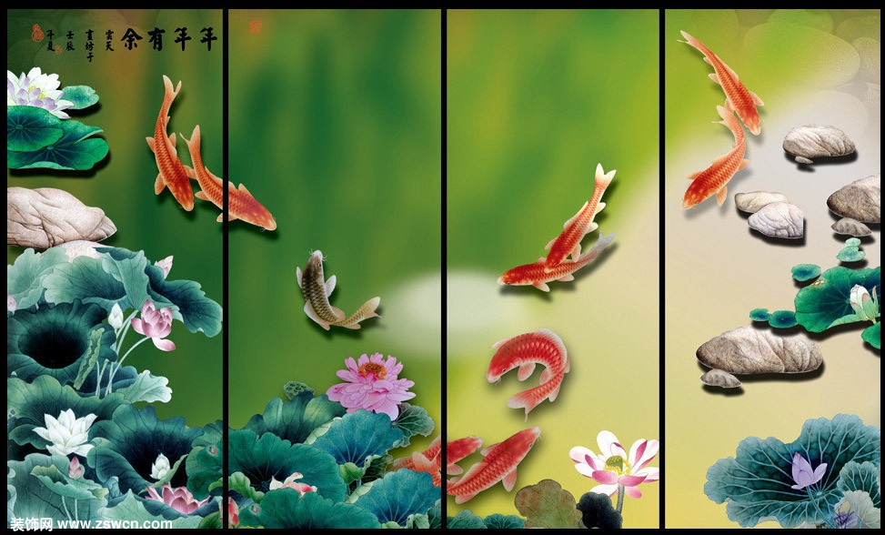 > 屏风图片素材 条屏 山水 花鸟3d贴图素材 打包下载