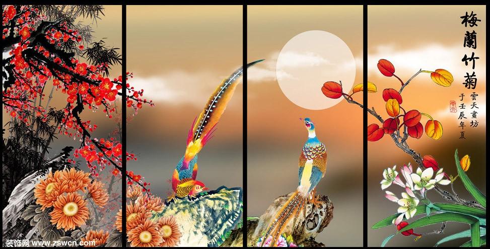 梅兰竹菊屏风图片 高清屏风3d材质贴图素材
