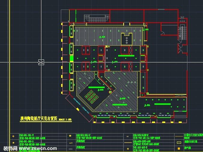 专卖店展厅室内装修设计施工图cad图纸 含平面图 地面 天花