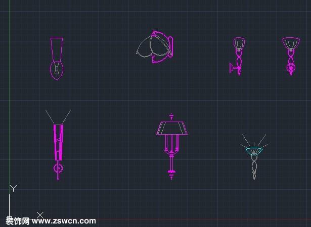 壁灯CAD下载 cad壁灯图块素材 壁灯立面图库cad模型dwg源文件下载