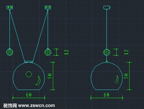 小玻璃罩吊灯cad立图块素材 室内设计吊灯cad立面图块素材dwg下载