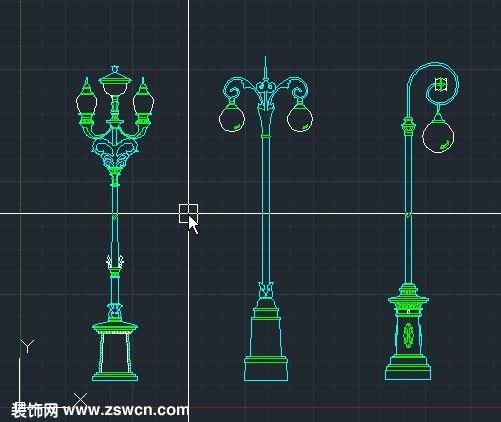 室外v路灯路灯CAD图块立体cad画桥台Ccad景观路灯图片