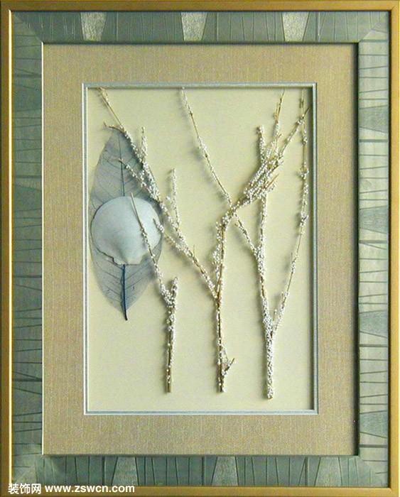 景墙挂画 现代干花挂画3d材质贴图下载图片