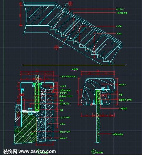 大理石踏步 木扶手 玻璃立面 楼梯扶手cad节点详图