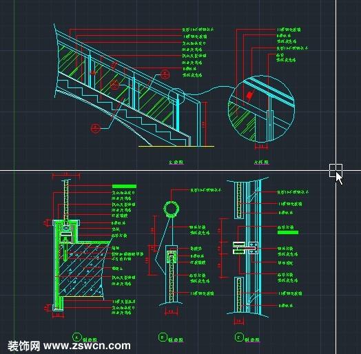 不锈钢楼梯扶手cad节点详图
