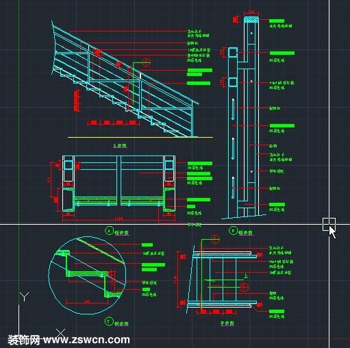 实木楼梯扶手 拉钢索cad节点详图 含cad平面图 cad立面图 大样图 剖面图有材料标注全dwg源文件下载