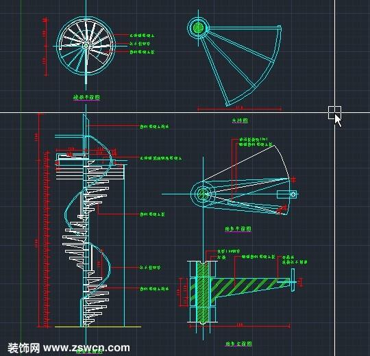 > 旋转楼梯cad平面图 cad节点详图 含cad平面图 cad立面图 大样图