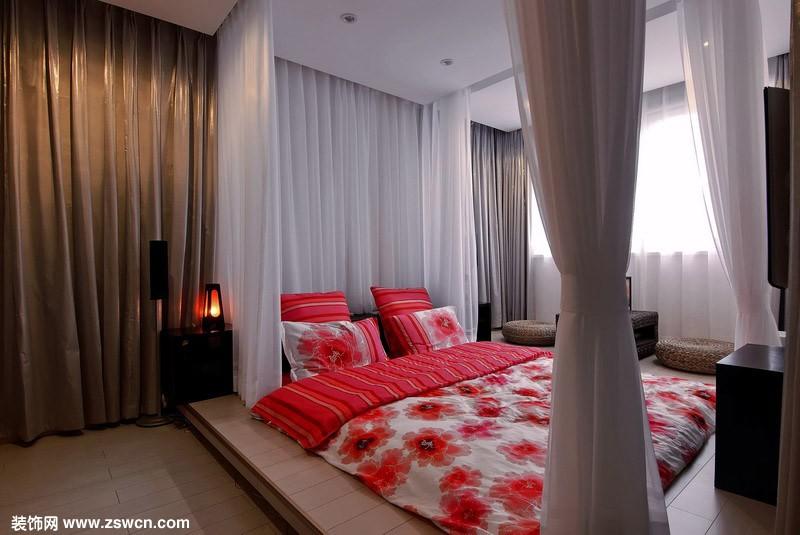韩国卧室木炕装修图
