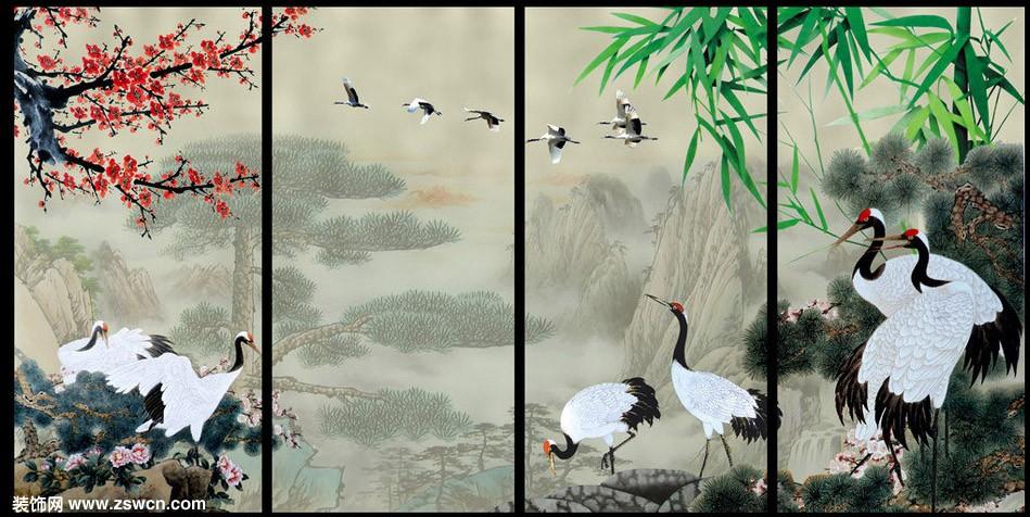 标题:中式屏风贴图素材 松鹤长春图片 下载