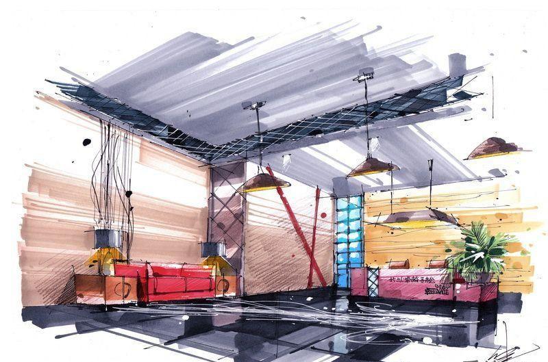 接待空间效果图设计 室内手绘设计作品