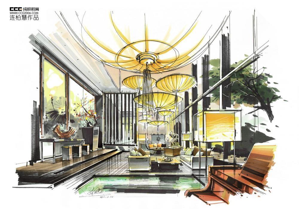 室内设计手绘作品 临摹用室内设计效果图马克笔重彩