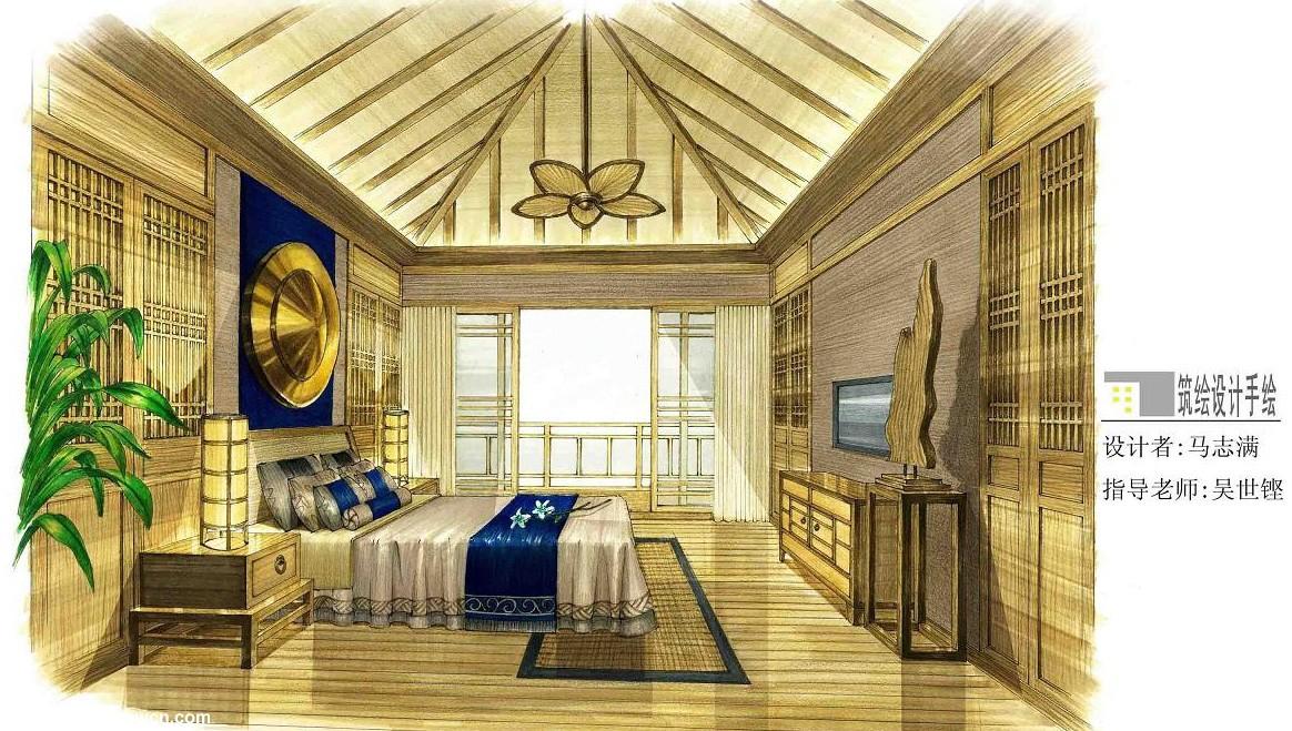 中式卧室设计一点透视表现手绘效果图,木家具较多筑绘