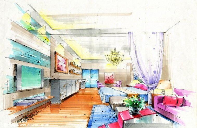 手绘设计作品 室内装饰设计表现图卧室 欣赏