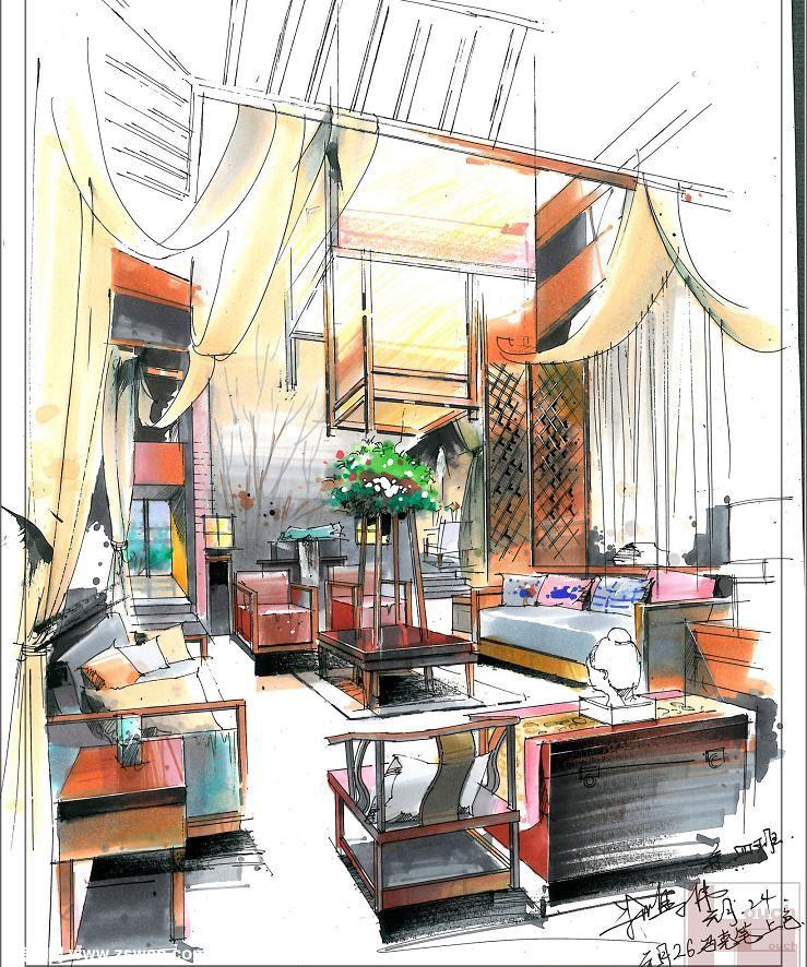 室内复式客厅装修手绘设计表现图之 马克笔上色一点斜透视示范图
