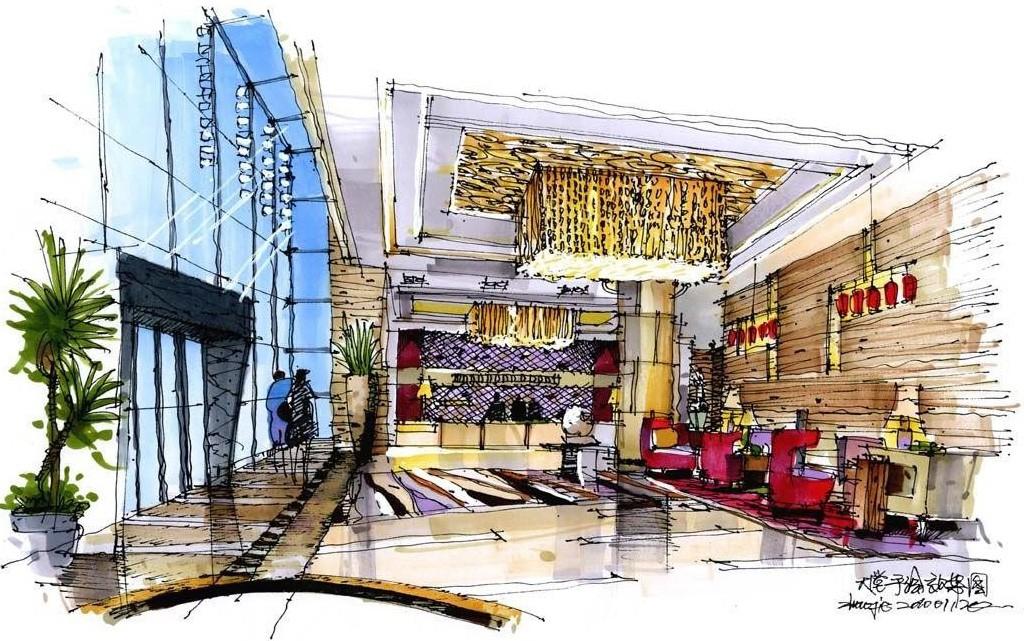 酒店大堂室内手会设计效果图作品-一点斜透视图赵杰