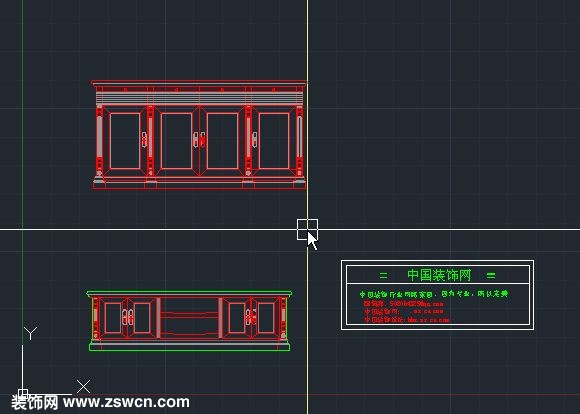 中国古典cad家具 中式电视柜CAD立面图素材下载