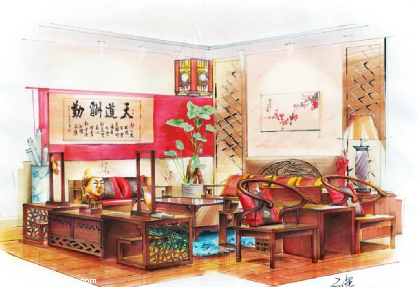 中式装修 起居室室内设计手绘效果图