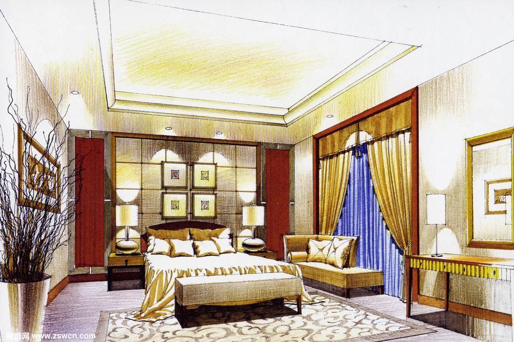 画风严谨的卧室简洁风格装修效果图,彩色铅笔手绘作品欣赏
