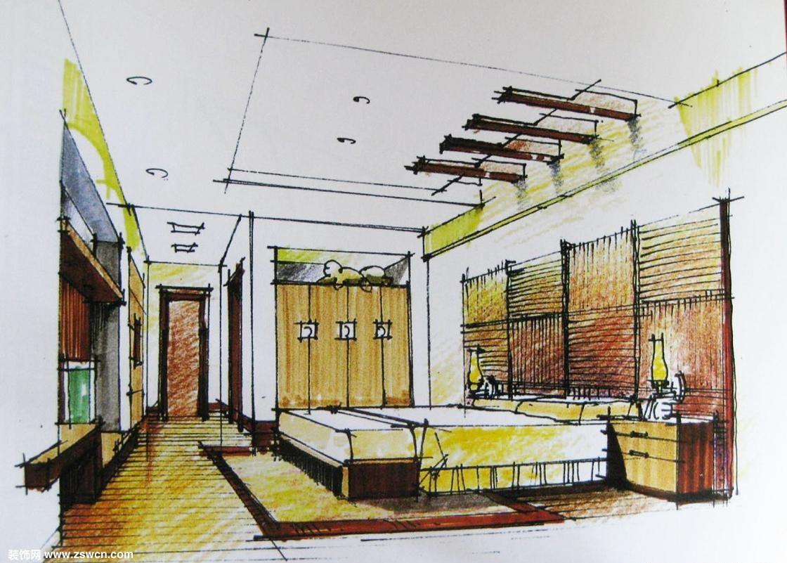 手绘一点透视卧室方案设计