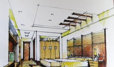 手绘一点透视卧室方案设计 彩色铅笔画的手绘作品欣赏
