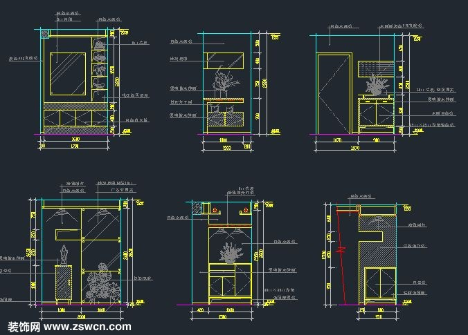 玄关隔断cad立面图玄关装饰柜立面施工图下载cad弧线v玄关里体的图片