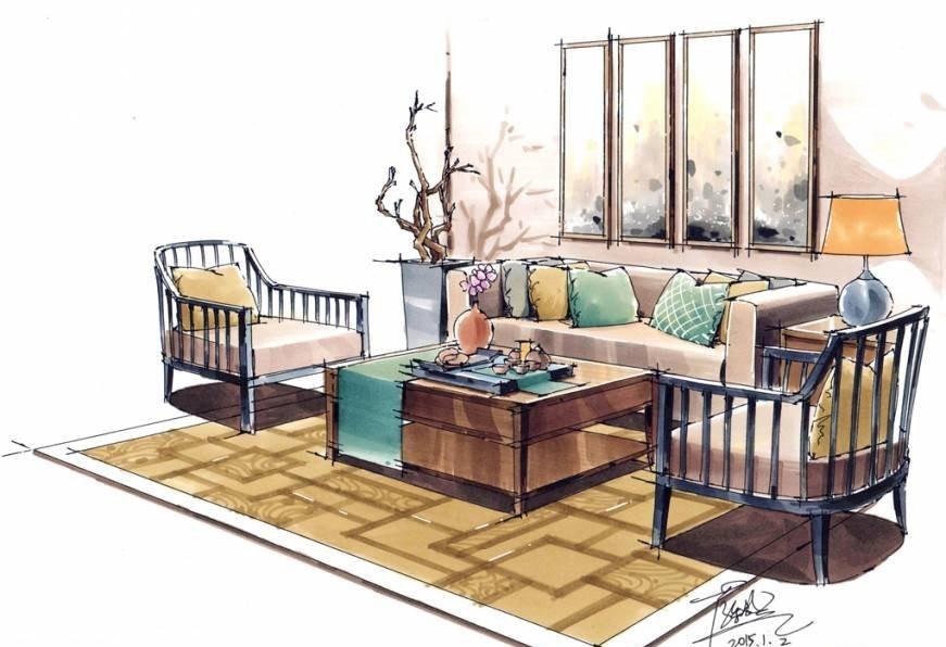 会客区沙发软装手绘表现马克笔作品 纯粹手绘