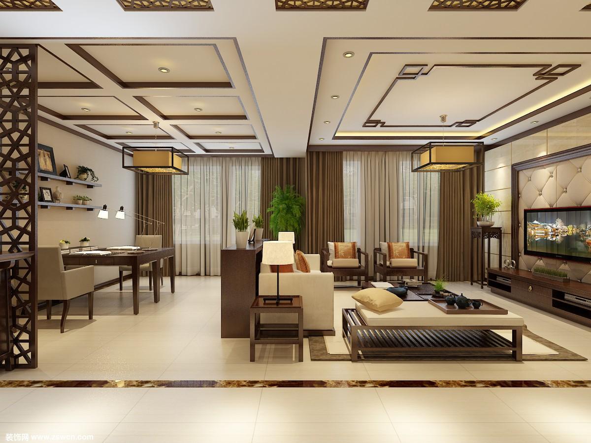96平公寓简约中式风格装修效果图大全2016图片