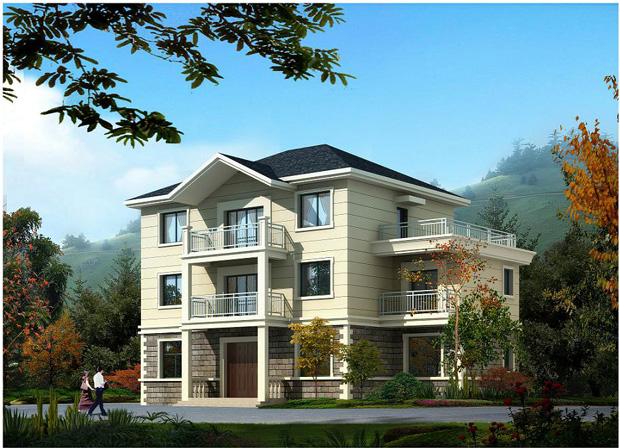 三层别墅带斜屋面设计图