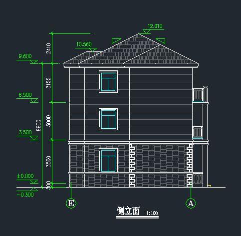 cad案例施工图 别墅全套图纸 > 农村自建房设计图 三层最新房子设计图