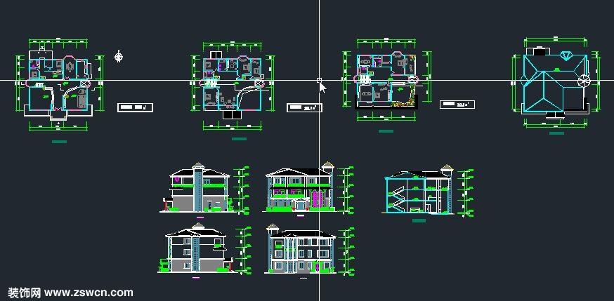 三层 农村自建别墅设计 效果图施工图cad下载6  图纸:一层平面图,二层