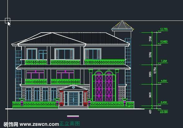 农村别墅户型设计图 三层 农村自建别墅设计 效果图施工图cad下载6
