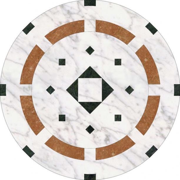 黑边圆形大理石拼花贴图 3d贴图素材下载