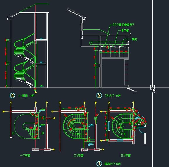 圆形浴缸立面cad_半圆形别墅楼梯立面图 大样图 cad源文件 - 楼梯节点详图CAD下载 ...