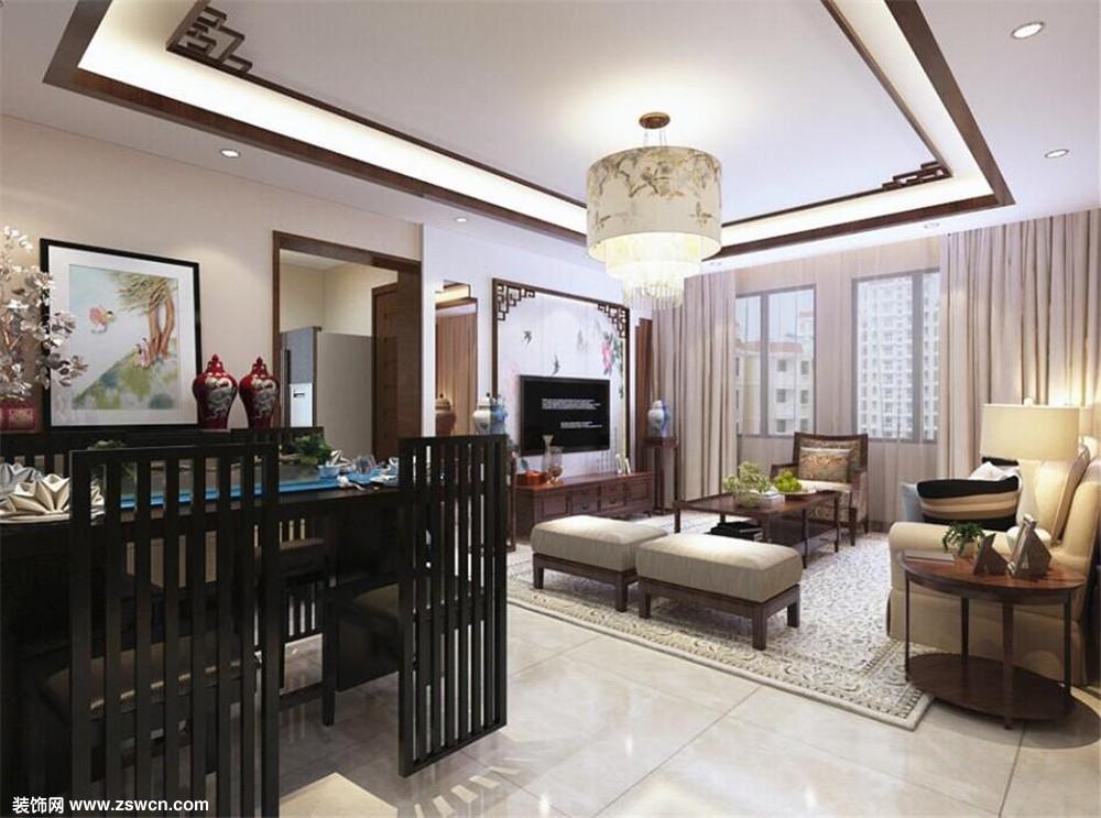 【力天装饰】中粮大道 两室一厅一厨两卫110平米 新中式风格图片